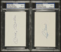 Baseball Collectibles:Others, Roger Maris and Mickey Mantle Signed Index Cards Lot of 2, PSA Mint9....