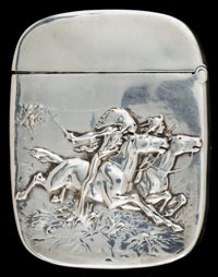 A WHITING SILVER MATCH SAFE Whiting Manufacturing Company, New York, New York, circa 1880 Marks: STERLING