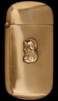 Silver Smalls:Match Safes, A SHIEBLER GOLD MATCH SAFE . George W. Shiebler & Co., NewYork, New York, circa 1890. Marks: (winged S), 14. 2-1/2in...