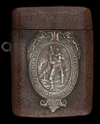 A SHREVE COPPER AND SILVER MATCH SAFE George C. Shreve & Co., San Francisco, California, circa 1915 Unmarked