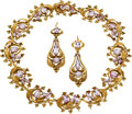 Estate Jewelry:Suites, Georgian Pink Topaz, Gold Jewelry Suite, French. ...