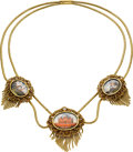 Estate Jewelry:Necklaces, Victorian Painted Gold Necklace. ...