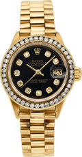 Estate Jewelry:Watches, Rolex Lady's Diamond, Gold DateJust Watch, circa 1976. ...