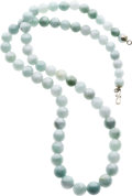 Estate Jewelry:Necklaces, Jadeite Jade Bead Necklace. ...