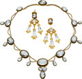 Estate Jewelry:Suites, Georgian Aquamarine, Gold Jewelry Suite, Czechoslovakia. ...