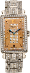 "Estate Jewelry:Watches, Roger Dubuis Horloger Genevois Lady's Diamond, White Gold ""MuchMore"" Wristwatch, No 01/28, modern. ..."