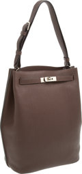 Luxury Accessories:Bags, Hermes Chocolate Clemence Leather So Kelly Shoulder Bag withPalladium Hardware. ...