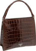 Luxury Accessories:Bags, Prada Shiny Mahogany Brown Alligator Top Handle Bag with ClaspClosure. ...