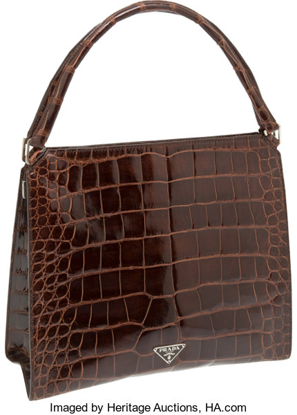 75cfd499fdf4 Luxury Accessories:Bags, Prada Shiny Mahogany Brown Alligator Top Handle Bag  with ClaspClosure.