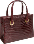 Luxury Accessories:Bags, Gucci 1960's Spectacular Shiny Bordeaux Crocodile Top Handle Bag....