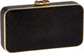 Luxury Accessories:Bags, Judith Leiber Black Full Bead Envelope Clutch Evening Bag withBlack & Purple Hearts Closure. ...