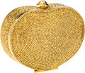 Luxury Accessories:Bags, Judith Leiber Gold Full Bead Heart Minaudiere Evening Bag with PinkCabochon Clasp. ...