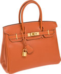 Luxury Accessories:Bags, Hermes 30cm Terracotta Vache Liegee Leather Birkin Bag with GoldHardware. ...