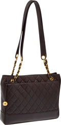Luxury Accessories:Bags, Chanel Dark Brown Lambskin Leather Quilted Shoulder Bag. ...