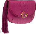 Luxury Accessories:Bags, Judith Leiber Magenta Lizard Clutch with Tassel and Seashell ClaspClosure. ...