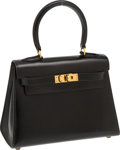 Luxury Accessories:Bags, Hermes 20cm Black Calf Box Leather Mini Rigide Kelly Bag with Gold Hardware. ...