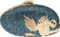 Luxury Accessories:Bags, Judith Leiber Very Special Beaded Blue Multicolor Fish Minaudiere Evening Bag. ...