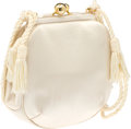 Luxury Accessories:Bags, Judith Leiber White Satin Evening Bag. ...
