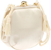 Judith Leiber White Satin Evening Bag