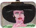 Luxury Accessories:Bags, Judith Leiber Exceedingly Rare Full Bead Multicolor Two-SidedSmoking Woman & Woman in Hat Minaudiere Evening Bag. ...