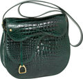 Luxury Accessories:Bags, Gucci 1970's Very Special Shiny Emerald Green Crocodile Saddle Bagwith Accessories. ...