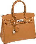 Luxury Accessories:Bags, Hermes 30cm Gold Epsom Leather Birkin Bag with Palladium Hardware....