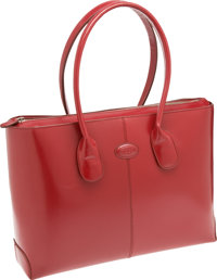Tod's Candy Apple Red Leather Classic D Bag