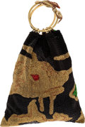 Luxury Accessories:Bags, Valentino Runway Black, Gold, Red, and Green Beaded Limited EditionDragon Bracelet Bag. ...