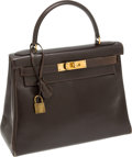 Luxury Accessories:Bags, Hermes 28cm Chocolate Calf Box Leather Kelly Bag with Gold Hardware. ...