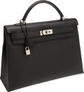 Luxury Accessories:Bags, Hermes 40cm Black Epsom Leather Kelly Bag with Palladium Hardware....