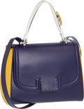 Luxury Accessories:Bags, Fendi Blue & Yellow Leather Silvana Bag. ...