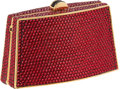 Luxury Accessories:Bags, Judith Leiber Burgundy Red Bead Small Minaudiere Evening Bag. ...