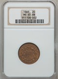 Two Cent Pieces: , 1865 2C MS65 Brown NGC. NGC Census: (349/42). PCGS Population(34/4). Mintage: 13,640,000. Numismedia Wsl. Price for proble...