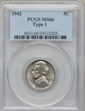 Jefferson Nickels: , 1942 5C Type One MS66 PCGS. PCGS Population (288/5). NGC Census:(144/99). Mintage: 49,818,600. Numismedia Wsl. Price for p...