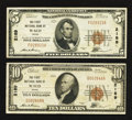 National Bank Notes:Texas, Waco, TX - $5; 10 1929 Ty. 1 The First NB Ch. # 2189. ... (Total: 2 notes)