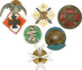 Militaria:Insignia, Poland: Six Polish Army Badges, including: Radoslawa Group badge, bronzed metal and enamels, number obliterated, unmarke...