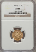 Liberty Quarter Eagles, 1867-S $2 1/2 AU55 NGC....