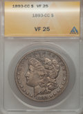 1893-CC $1 VF25 ANACS. NGC Census: (112/2176). PCGS Population (145/4096). Mintage: 677,000. Numismedia Wsl. Price for p...