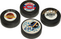 Hockey Collectibles:Others, Hockey Legends Signed Pucks Lot of 4....