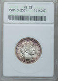 Barber Quarters: , 1907-O 25C MS63 ANACS. NGC Census: (27/58). PCGS Population(44/72). Mintage: 4,560,000. Numismedia Wsl. Price for problem ...