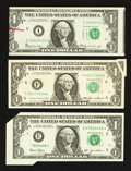 Error Notes:Error Group Lots, Three Error $1 FRNs.. ... (Total: 3 notes)