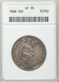 Seated Half Dollars: , 1868 50C VF35 ANACS. NGC Census: (1/31). PCGS Population (3/55).Mintage: 417,600. Numismedia Wsl. Price for problem free N...