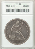 Seated Dollars: , 1860-O $1 VF35 ANACS. NGC Census: (8/648). PCGS Population(27/1016). Mintage: 515,000. Numismedia Wsl. Price for problem f...