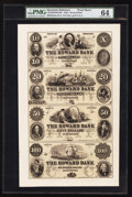 Obsoletes By State:Maryland, Baltimore, MD- The Howard Bank $10-$20-$50-$100 G6-G8-G10-G12 Proof Uncut Sheet. ...