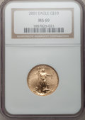 Modern Bullion Coins: , 2001 G$10 Quarter-Ounce Gold Eagle MS69 NGC. NGC Census:(3020/433). PCGS Population (2809/17). Numismedia Wsl. Price for...