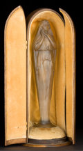 Art Glass:Lalique, R. LALIQUE CLEAR AND FROSTED GLASS VOILEE MAINS JOINTESSTATUETTE WITH CHARCOAL GRAY PATINA AND ORIGINAL WOODEN CA...