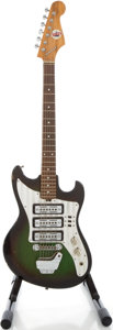 Musical Instruments:Electric Guitars, 1960's Teisco Del Rey ET-311 Green Solid Body Electric Guitar,Serial # 307473....