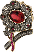 Estate Jewelry:Brooches - Pins, Rubelite Tourmaline, Ruby, Colored Diamond, Gold, Silver Pendant-Brooch. ...