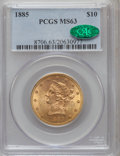 Liberty Eagles: , 1885 $10 MS63 PCGS. CAC. PCGS Population (40/13). NGC Census:(29/11). Mintage: 253,400. Numismedia Wsl. Price for problem ...