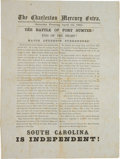 """Military & Patriotic:Civil War, Charleston, S. C. Mercury One Sheet - """"Major Anderson Surrenders - South Carolina Is Independent"""" - Only Example of This Date ..."""